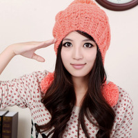 Winter knitted hat women's autumn and winter ear protector cap fashion large sphere knitted hat