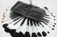 High quality !! free shipping:32Pcs  Professional Cosmetic make up silver Brush set  + leather Pouch