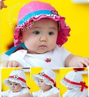Spring and summer baby hat baby basin cap little cotton  female princess mesh cap love flower child sunbonnet MZ040