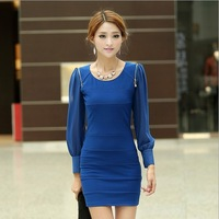2013 autumn and winter fashion popular four seasons slim sexy elegant chiffon sleeve one-piece dress