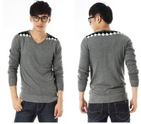 2013 autumn male slim casual color block V-neck sweater outerwear  JL132