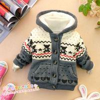 Hot sale winter children clothing winter baby child cotton-padded jacket child plus velvet outwear coat  with bear pattern DZ05