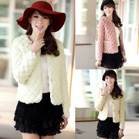 Free shipping 2013 winter new arrival women's coat pink thermal all-match plush short jacket fur top female faux fur coat