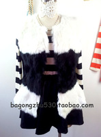 Free shipping Hot-selling princess black & white color block rabbit fur vest princess sleeve OL lady all-match fashion fur top