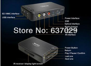 Free shipping 2pcs/ Lot 1080P A1HD HD media Player w/HDMI,AV,MKV/AVCHD/MOV/H.264, USB External,2.5/3.5 HDD,Support SDHC/SD/MMC