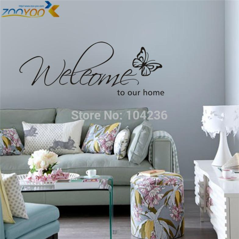 FreeShipping ZooYoo Original Butterfly Welcome to Our Home Vinyl Wall Art Decals Quotes Saying Home Decor Christmas Wall Sticker(China (Mainland))