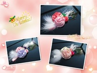 Top Quality Elegant Gorgeous rolled Satin rose Christmas headband Baby Peacock Feather headband Baby Feather headbands 5pcs/lot