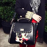 2013 all-match beauty trend vintage national facebook rivet women's handbag shoulder bag messenger bag