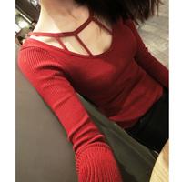 Autumn and winter women sweater basic shirt cutout slim long-sleeve knitted basic shirt
