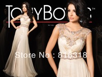 Free Shipping Vestido De Festa Chiffon A-line Lace Beaded Tony Bowls Luxury Evening Gowns 2014 Evening Dresses Cap Sleeve