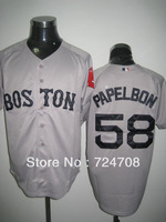 Fast & Free Shipping Boston Red Sox #58 Jonathan Papelbon white/red/gray/blue 4 Colors Baseball Jersey
