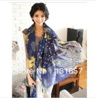 free shipping NEW 2013Japanese literary Xia Qing cashew flowers cotton and linen air conditioning shawl,scarf vintage  .S-048