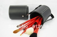 Free shipping  high quality  goat hair Make up Brush 10PCS  Set  With ROUND BARREL CASE  M10PT