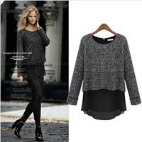 2014 New Za Women Blouses Shirt False Two Pieces Regular Full Sleeve Cotton Chiffon Round Neck Black Grey XS S L XL XXL