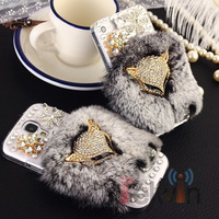 2013 New Design Luxurious Fox Big diamond for iphone 5 case Retail soft rabbit fur case for iphone5 case ,gift 1 Pcs Stylus Pen