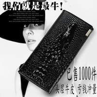 women's genuine leather crocodile embossed wallets fashion leather handbags 14 coloures purses mujer cartera bolsa free shipping
