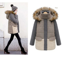 women winter coat  Faux fur lining  female thickening liner medium-long cotton-padded jacket