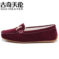 Peas shoes casual suede shoes low shoes driving shoes pink wool 35-40