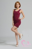 Free Shipping  2013 Slim slim hip sexy big double u dress female tank dress one-piece dress basic racerback