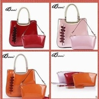 2014 women's Handbag Fashion Genuine Leather Candy Color Big bag handbag 2Pieces Set