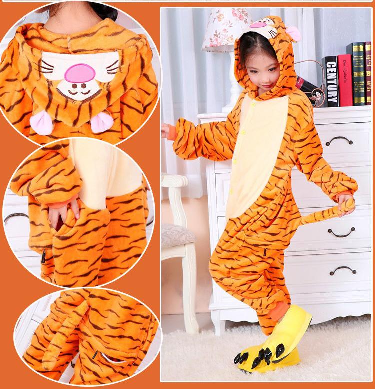 Anime Animal New Children's cartoon Animal hoody Kids Onesie Tigger Pajamas Sleepwear Costume For Party Dress(China (Mainland))