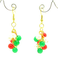 50mm 6pairs Fashion Elegant  Copper Christmas Jewelry Drop Earrings with Glass Beads for Women Gift Free Shipping HC167