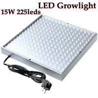 2014 15w 225leds Ac85-265v Eu Plug Led Grow Light Lamp for Plants Flower/greenhouse Growlight/ Hydroponic System Free Shipping