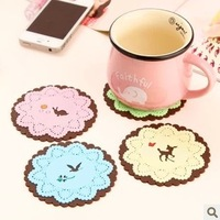 Small animal multicolour lace silica gel coaster placemat