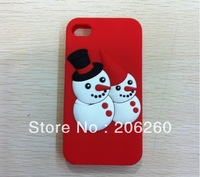 Cute  Christmas Double Snowman Silicone Case For iphone 5S 5G  For iphone 5 5s Christmas Case Christmas Gift