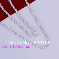 JN226-18 free shipping wholesale 925 silver necklace, 925 silver fashion jewelry Shine Twisted Line 2mm 18 inches Necklace N2