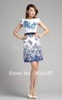 Runway Fashion Wholesale & Retail New fashion ladies sleeveless round neck printed dress KC232 Free shipping