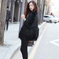 2013 fur coat overcoat mosaic outerwear faux fur coat PC61