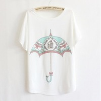 2013 thin plus size loose batwing sleeve short-sleeve T-shirt print tee t shirt
