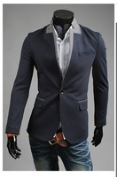 Drop Shipping Support 2013 fashion casual jacket male slim fit blazer tops men, M-XXL,SU2044