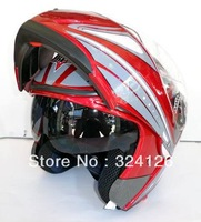 Double bld158 undrape surface helmet lens motorcycle helmet undrape face helmet wear-resistant double lens safflower RED