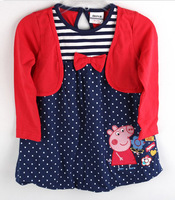 Free shipping 2013 NWT 5pcs/lot 18m~6Y girl spring & autumn false two pcs long sleeve polka dots dress with peppa pig
