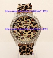 Discount sale Geneva Watch Unisex Leopard Stripe Diamond watch fashion Silicone Rubber ladies women watch Quartz Dress Watches