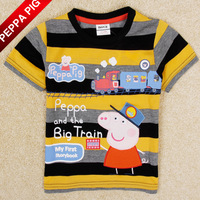 Free Shipping Summer Boys Short Sleeve Peppa Pig 100% Cotton T-Shirt With Embroidery Children Clothing Boys Baby