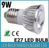 50X Home Garden E27 9W COB LED lighting led bulb Led light led lamp energy saving 90% 85-265V free shipping