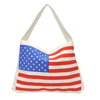 Eco-friendly 2013 large canvas bags casual flag stripe shopping bag shoulder bag