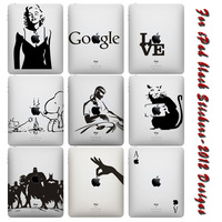 Free Shipping New Design Black and White Vinyl Backside Sticker for iPad Decal Stickers Skin