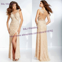 Custom Made Fashion Formal Evening Gowns Dresses Sheath Sexy Crystals Lace Prom Dresses With Side Slit 2014