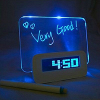 1pieces Blue Backligt LED Digital Alarm Clock Calendar Fluorescent Message Board Battery Powered or USB Powered