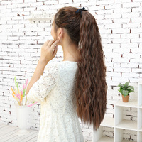 Free Shipping Women's Long Corn Stigma Style Curly Wave Hair long wigs Tie Band Ponytail Wigs Black Brown Flaxen #L04038