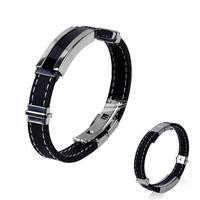 Fashion Men's Black Silver Stainless Steel Silicone Bracelet Hand Belt Bangle Brace Lace free shipping