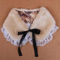 Lace sweater lace down coat fur collar fox fur collar the son lace fur collar