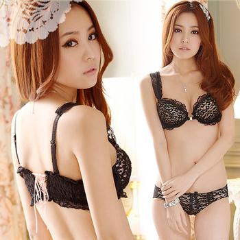 Hot-selling 2013 women's sex bra set shine front button side gathering comfortable underwear black white bra