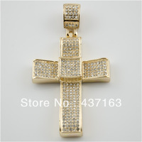 Hip-Hop Bling Iced Gold Tone ROBE CROSS Pendant  Hip Hop Fashion Jewelry (size:3.5inch X 2inch)