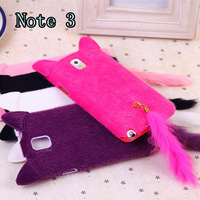 50 pcs/lot  Cute plush Cat TPU Soft Case For Samsung Note 3 Lovely Cover DHL with free shipping