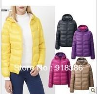 2013 Designer brand Winter womens new fashion Slim Hooded collar lighter weight  Duck Down coats / jackets   Freeshipping